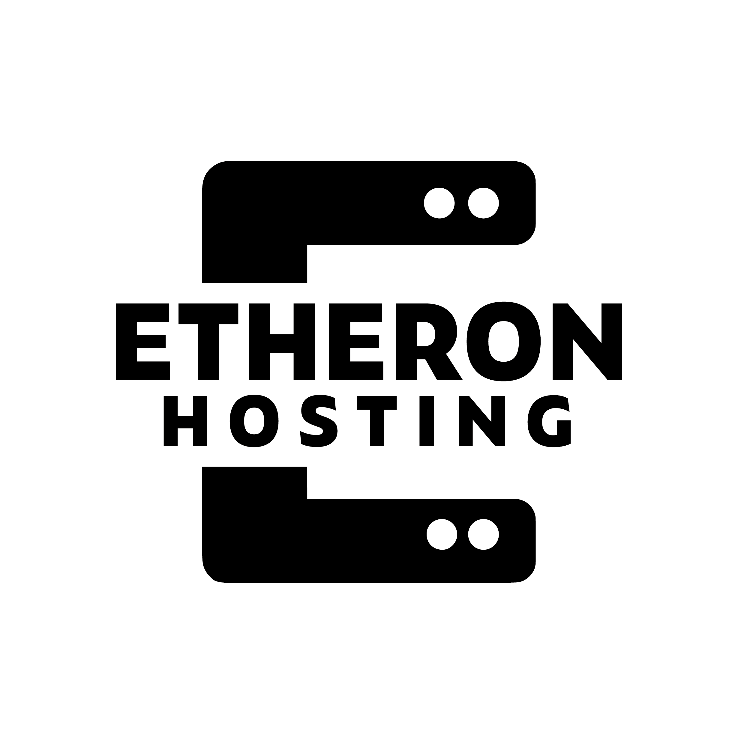 Etheron hosting logo in footer